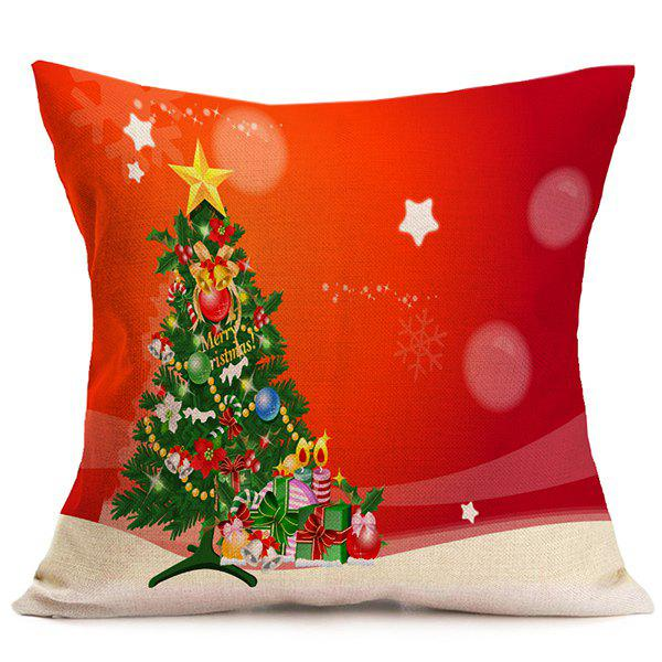 Christmas Tree Sofa Cushion Throw Pillow CaseHOME<br><br>Color: RED; Material: Polyester / Cotton; Pattern: Printed; Style: Modern/Contemporary; Shape: Square; Size(CM): 43*43; Weight: 0.120kg; Package Contents: 1 x Pillow Case;