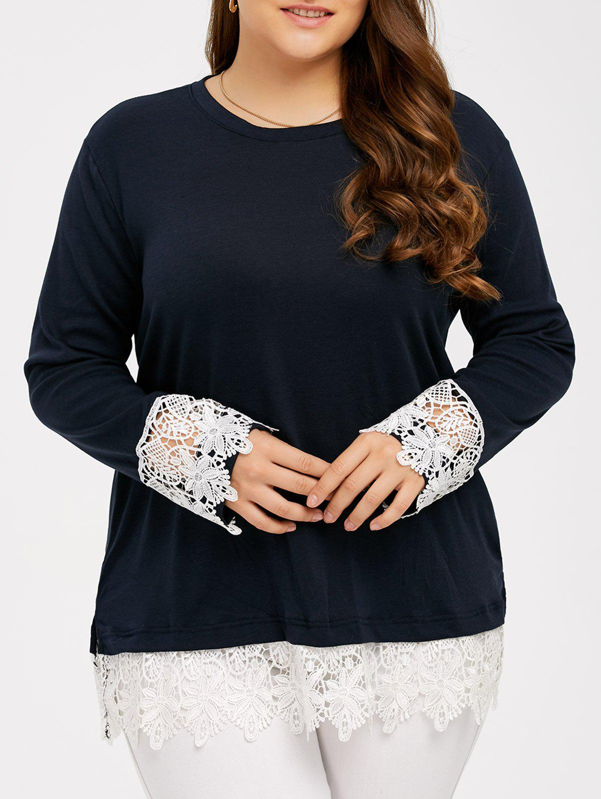 Hot Lace Splicing Plus Size T-Shirt