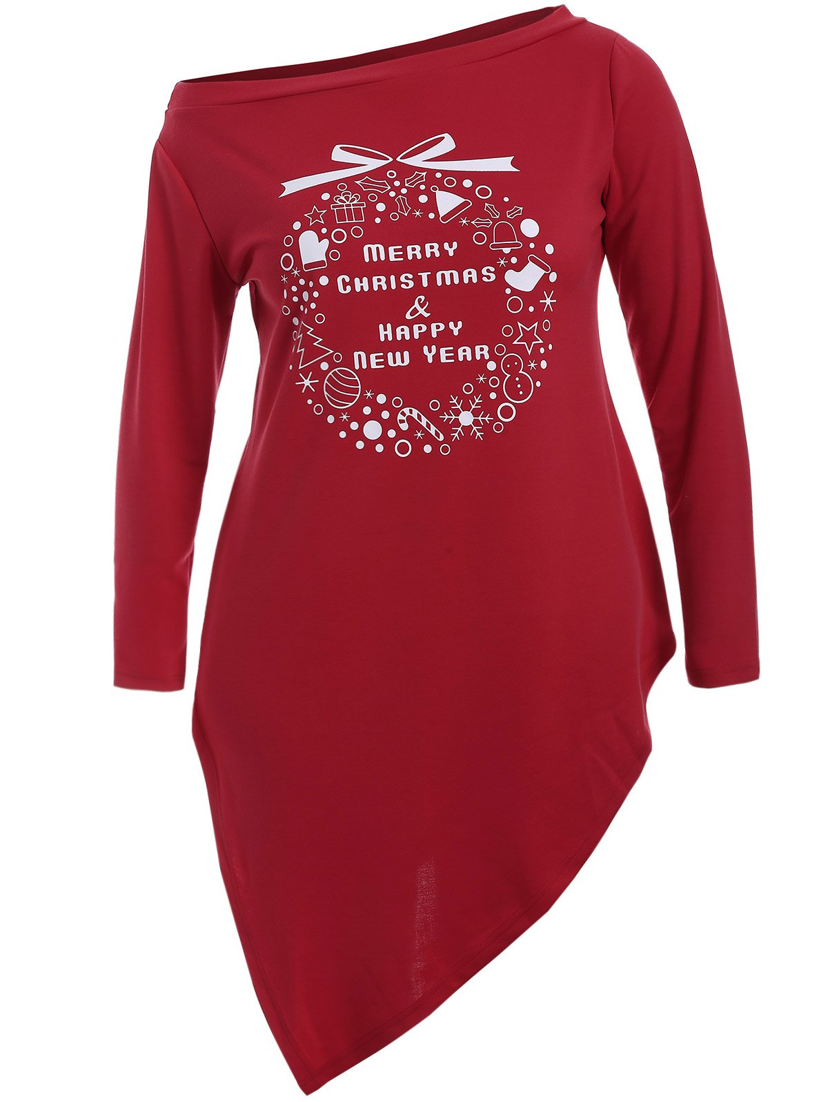 Christmas Graphic Longline TeeWOMEN<br><br>Size: 2XL; Color: RED; Material: Cotton,Polyester; Shirt Length: Long; Sleeve Length: Full; Collar: Skew Collar; Style: Fashion; Season: Fall,Spring; Pattern Type: Print; Weight: 0.320kg; Package Contents: 1 x Tee;