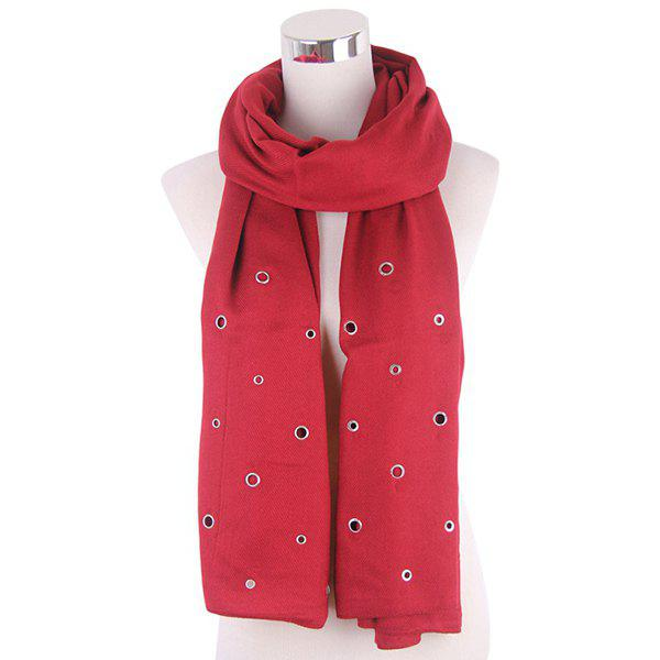 New Hollow Ring Rivet Knitted Scarf