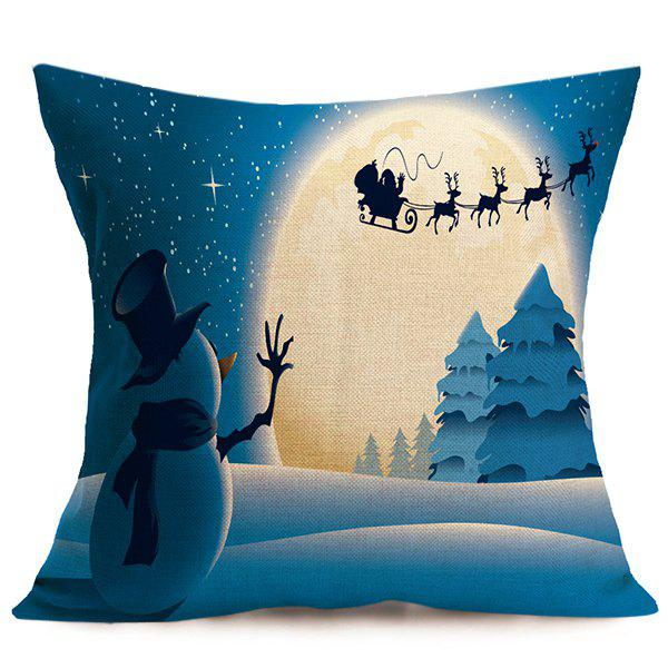 Linen Cushion Home Decor Christmas Pillow CoverHOME<br><br>Color: BLUE; Material: Polyester / Cotton; Pattern: Printed; Style: Modern/Contemporary; Shape: Square; Size(CM): 43*43; Weight: 0.120kg; Package Contents: 1 x Pillow Case;