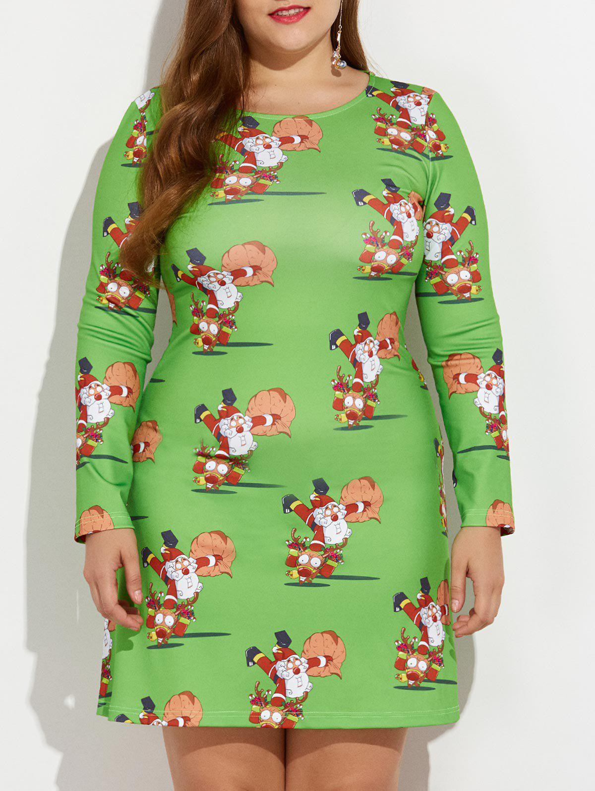 Store Christmas Plus Size Santa and Reindeer Print Dress
