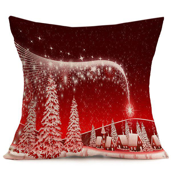 Home Decorative Merry Christmas Throw Pillow CoverHOME<br><br>Color: RED; Material: Linen; Pattern: Printed; Style: Modern/Contemporary; Shape: Square; Size(CM): 43*43; Weight: 0.120kg; Package Contents: 1 x Pillow Case;