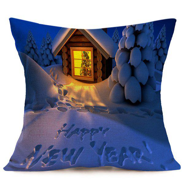 Happy New Year Christmas Night Cushion Pillow CoverHOME<br><br>Color: BLUE; Material: Polyester / Cotton; Pattern: Printed; Style: Modern/Contemporary; Shape: Square; Size(CM): 43*43; Weight: 0.120kg; Package Contents: 1 x Pillow Case;