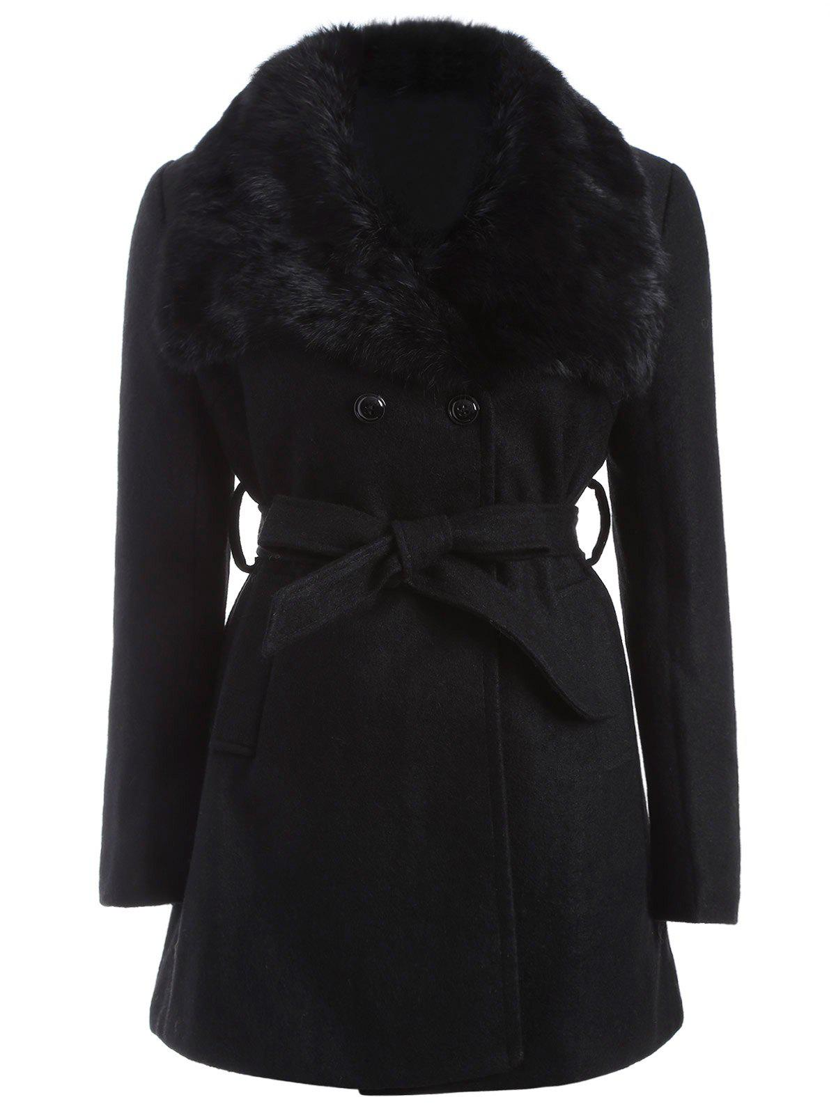Plus Size Faux Fur Belted Woolen CoatWOMEN<br><br>Size: 3XL; Color: BLACK; Clothes Type: Wool &amp; Blends; Material: Faux Fur,Polyester; Type: Wide-waisted; Shirt Length: Long; Sleeve Length: Full; Collar: Turn-down Collar; Pattern Type: Others; Embellishment: Fur; Style: Fashion; Season: Winter; With Belt: Yes; Weight: 1.200kg; Package Contents: 1 x Coat  1 x Belt;
