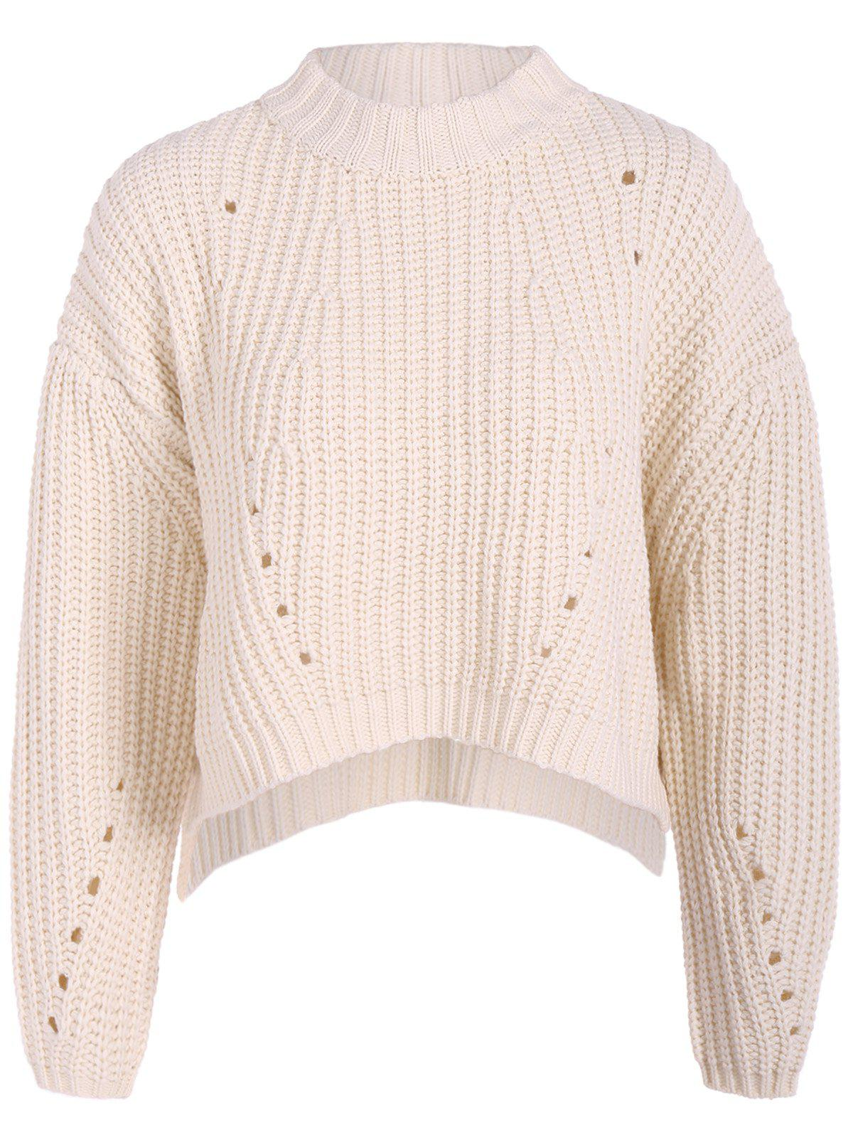 Round Neck High Low Pullover KnitwearWOMEN<br><br>Size: ONE SIZE; Color: WHITE; Type: Pullovers; Material: Polyester; Sleeve Length: Full; Collar: Round Neck; Style: Casual; Pattern Type: Solid; Season: Fall,Spring,Winter; Weight: 0.470kg; Package Contents: 1 x Sweater;