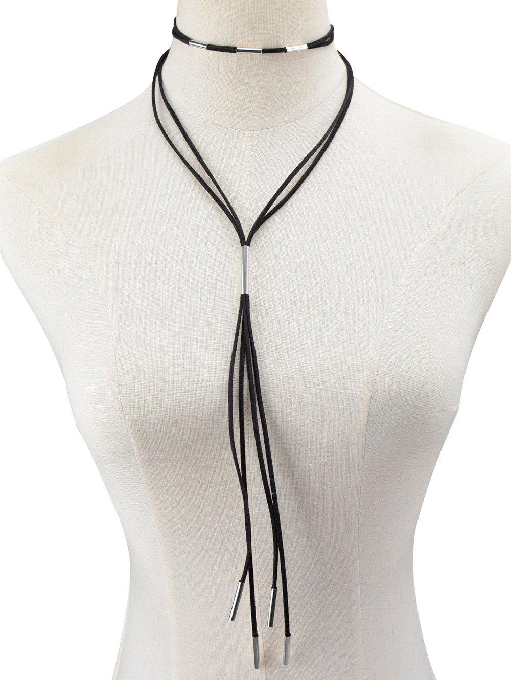 Fancy Faux Leather Rope Necklace