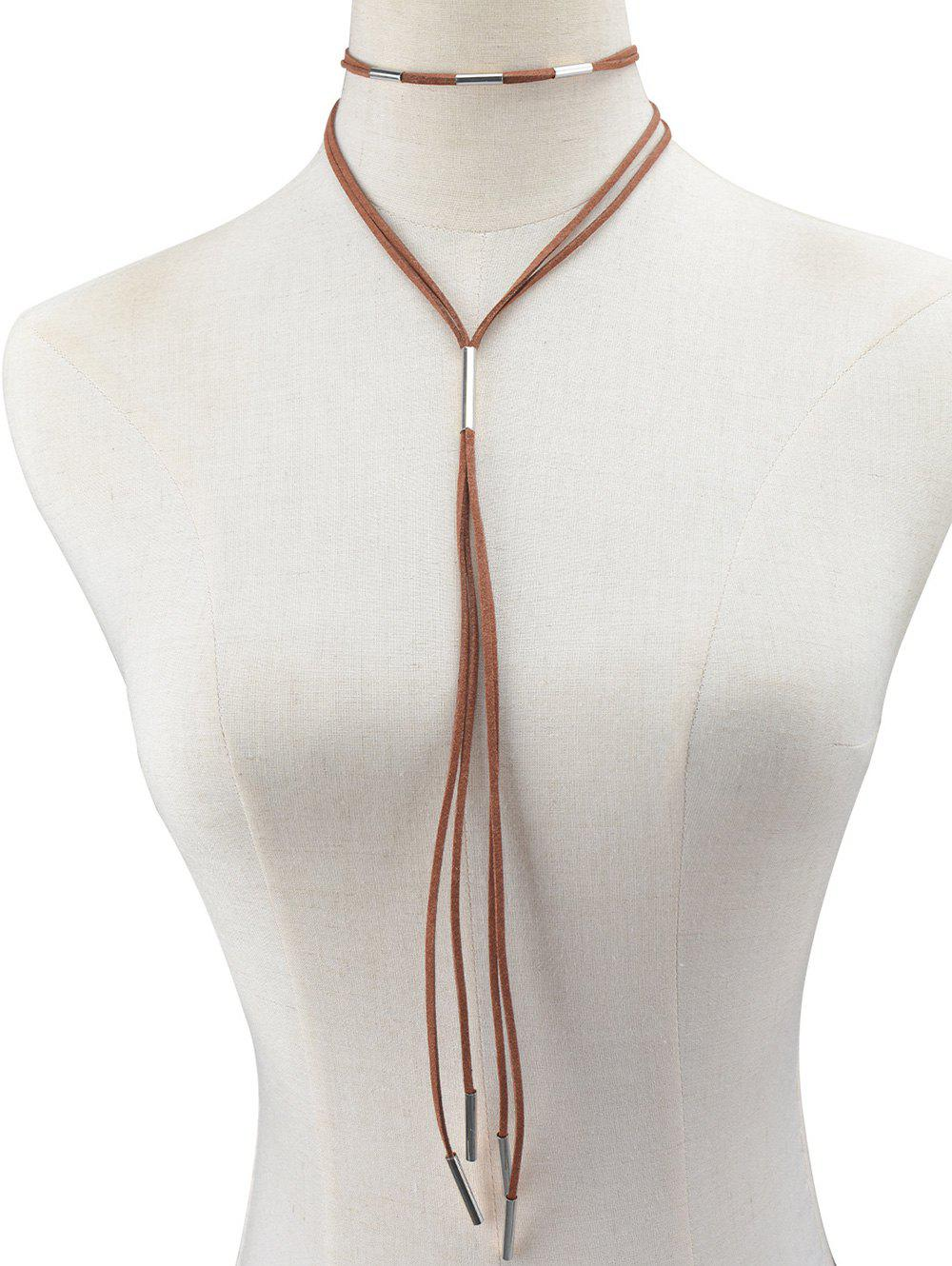 Sale Faux Leather Rope Necklace
