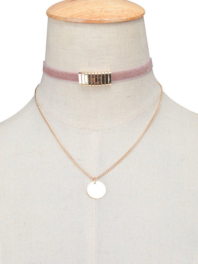 Online Vintage Circle Paillette Velvet Choker Necklace