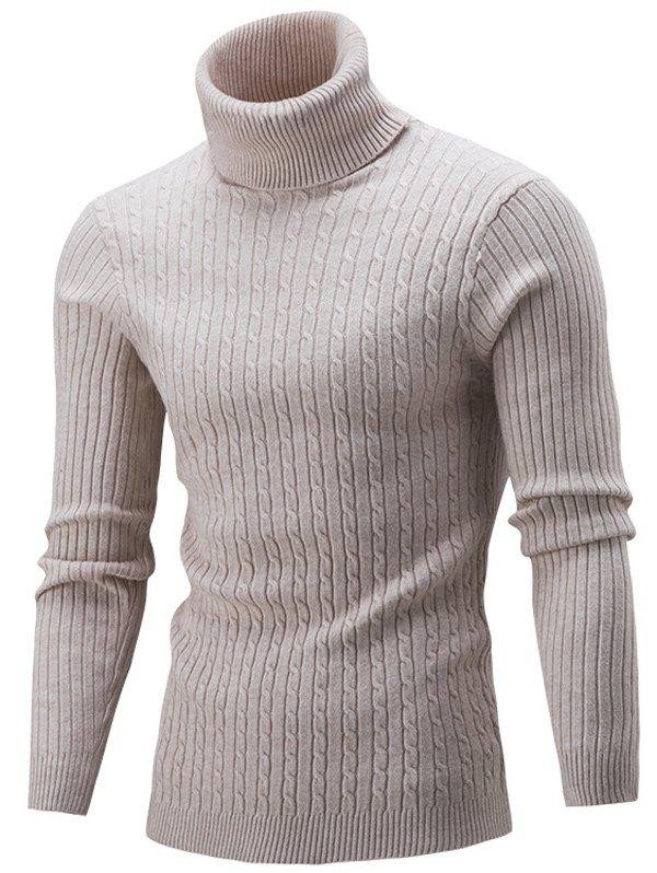 Slim Fit Cable Knit Turtleneck SweaterMEN<br><br>Size: M; Color: BEIGE; Type: Pullovers; Material: Acrylic,Polyester; Sleeve Length: Full; Collar: Turtleneck; Style: Casual; Weight: 0.4150kg; Package Contents: 1 x Sweater;