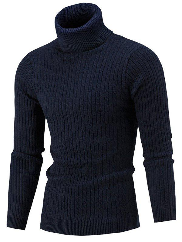 Slim Fit Cable Knit Turtleneck SweaterMEN<br><br>Size: XL; Color: CADETBLUE; Type: Pullovers; Material: Acrylic,Polyester; Sleeve Length: Full; Collar: Turtleneck; Style: Casual; Weight: 0.4150kg; Package Contents: 1 x Sweater;