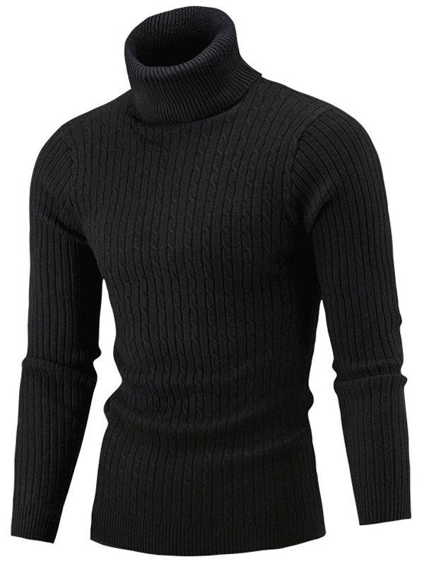 Slim Fit Cable Knit Turtleneck SweaterMEN<br><br>Size: M; Color: BLACK; Type: Pullovers; Material: Acrylic,Polyester; Sleeve Length: Full; Collar: Turtleneck; Style: Casual; Weight: 0.4150kg; Package Contents: 1 x Sweater;