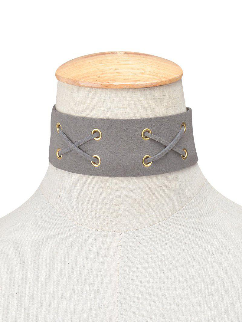 Fashion Faux Leather Velvet Lacing Choker