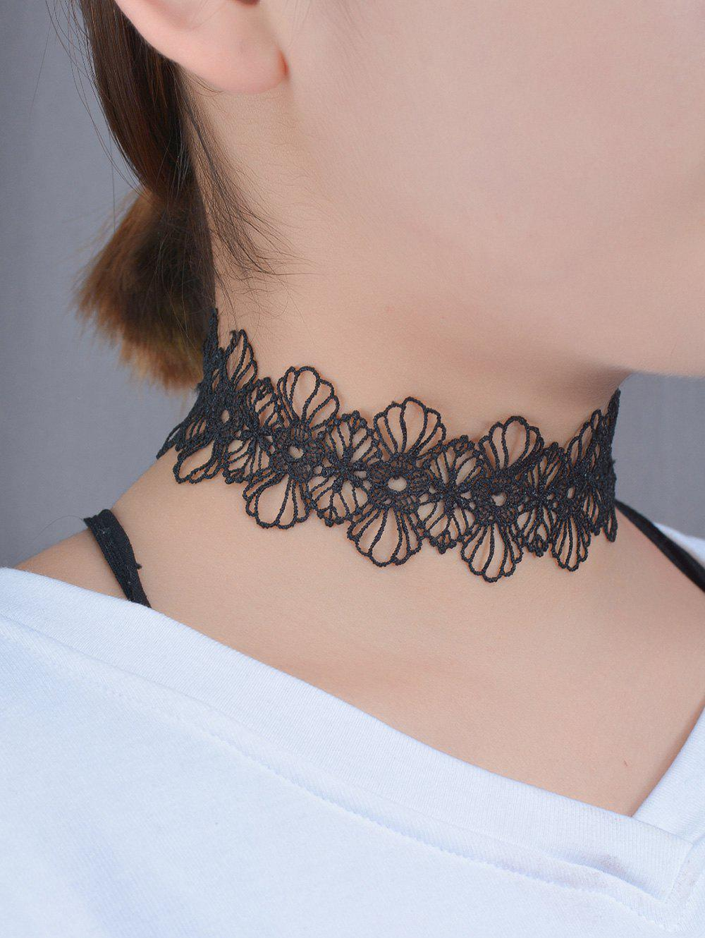 Hollow Out Lace Floral ChokerJEWELRY<br><br>Color: BLACK; Item Type: Chokers Necklace; Gender: For Women; Style: Trendy; Shape/Pattern: Floral; Length: 38CM; Weight: 0.030kg; Package Contents: 1 x Necklace;