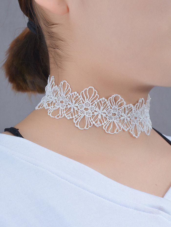 Hollow Out Lace Floral ChokerJEWELRY<br><br>Color: WHITE; Item Type: Chokers Necklace; Gender: For Women; Style: Trendy; Shape/Pattern: Floral; Length: 38CM; Weight: 0.030kg; Package Contents: 1 x Necklace;