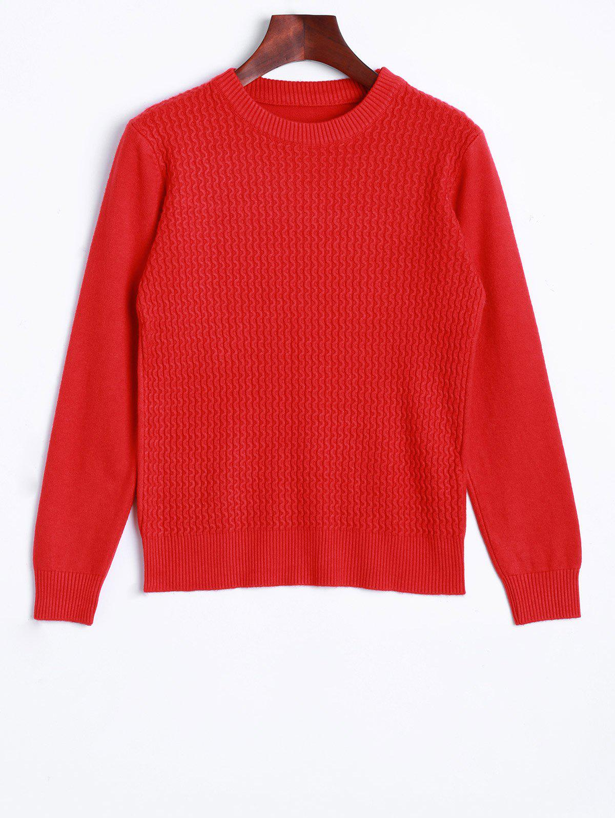 Unique Crew Neck Wave Patter Knitted Sweater