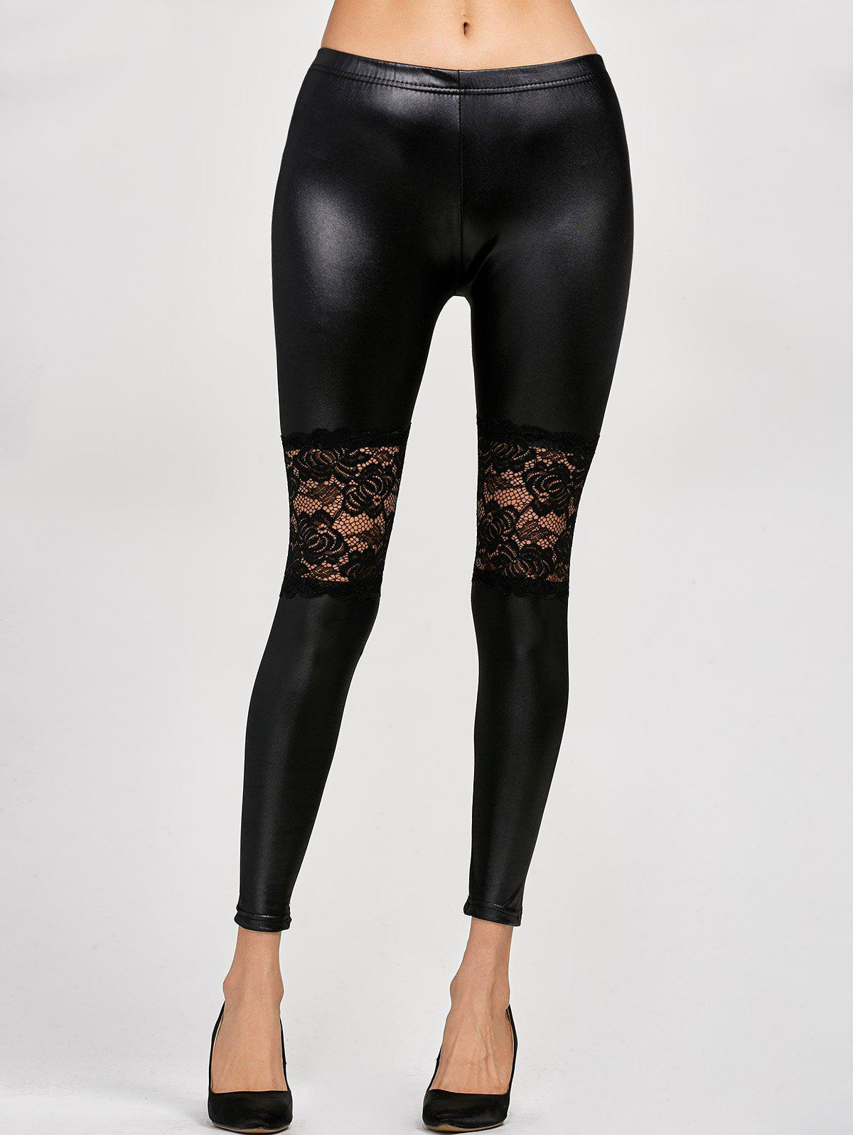 Lace Panel Leather LeggingsWOMEN<br><br>Size: ONE SIZE; Color: BLACK; Style: Streetwear; Length: Ninth; Material: Faux Leather; Fit Type: Skinny; Waist Type: High; Closure Type: Elastic Waist; Pattern Type: Patchwork; Embellishment: Lace; Pant Style: Pencil Pants; Weight: 0.143kg; Package Contents: 1 x Leggings;