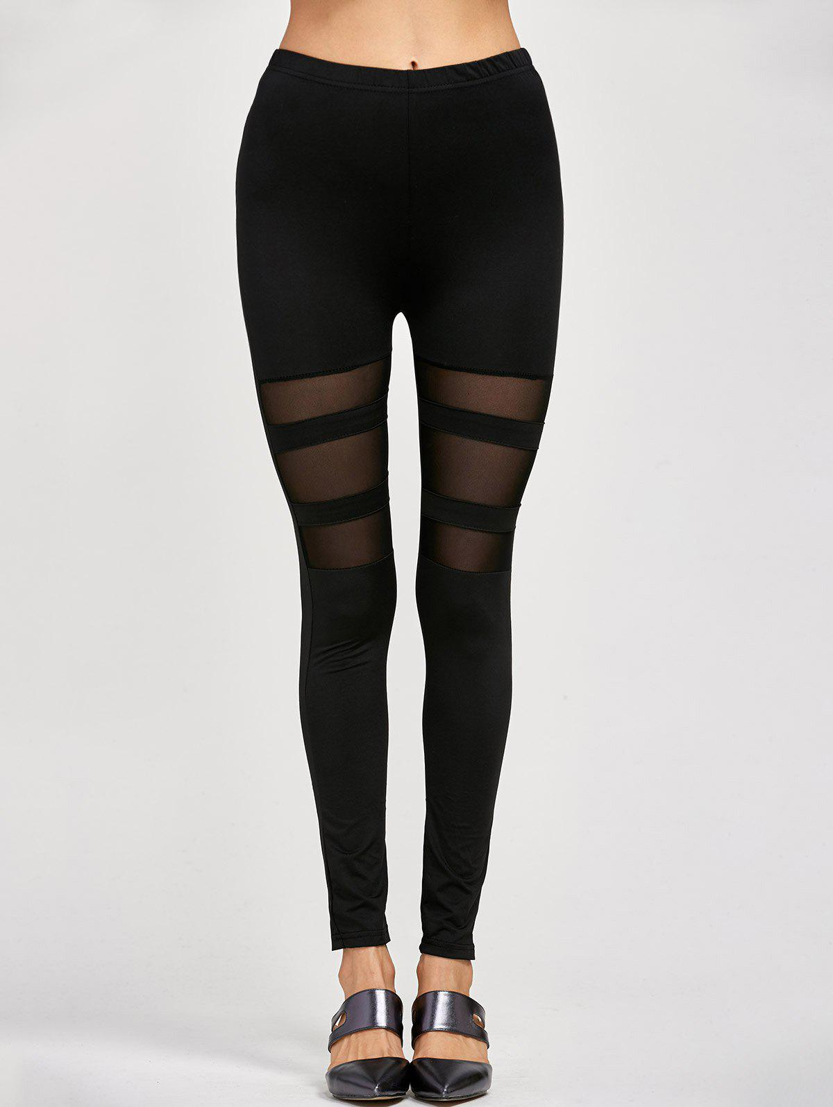 Mesh Insert Stretchy LeggingsWOMEN<br><br>Size: ONE SIZE; Color: BLACK; Style: Streetwear; Length: Ninth; Material: Cotton,Polyester; Fit Type: Skinny; Waist Type: High; Closure Type: Elastic Waist; Pattern Type: Patchwork; Pant Style: Pencil Pants; Weight: 0.125kg; Package Contents: 1 x Leggings;