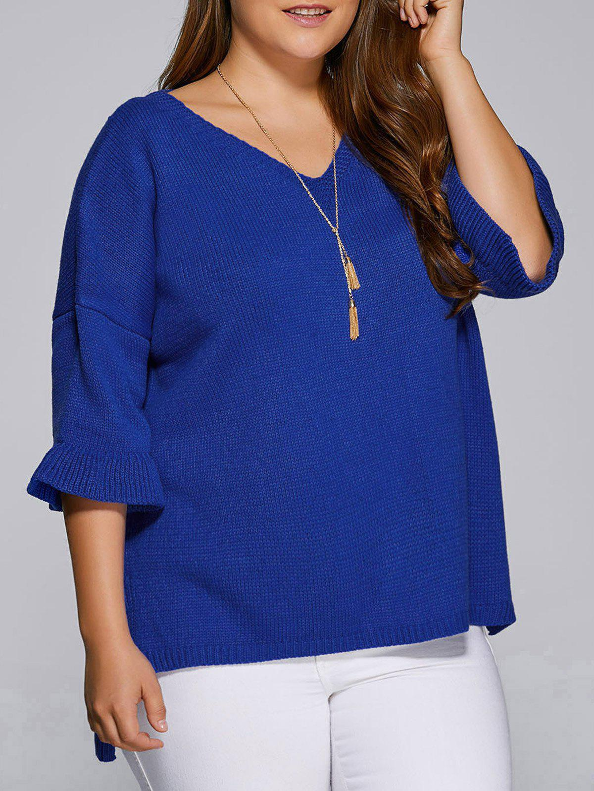 Trendy Flare Sleeves High Low Hem V Neck Sweater