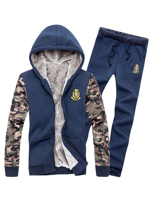 Fancy Zip Up Camo Sleeve Patch Hoodie Twinset