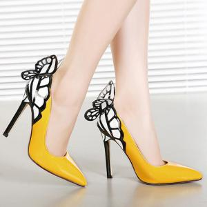 Gorgeous Butterfly and Point Toe Design Women's Pumps - YELLOW 39