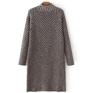 High Neck Stripe Heather Shift Sweater Dress - COFFEE ONE SIZE