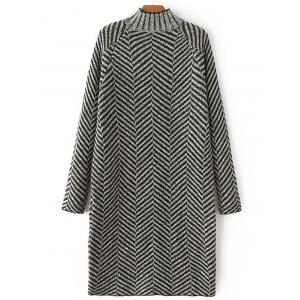 High Neck Stripe Heather Shift Sweater Dress - Black - One Size