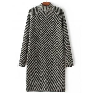 High Neck Stripe Heather Shift Sweater Dress