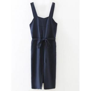 Slit Belted Pinafore Dress -