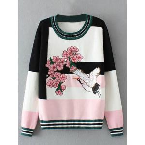Floral Bird Embellished Sweater - Pink - One Size