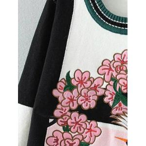 Floral Bird Embellished Sweater - PINK ONE SIZE