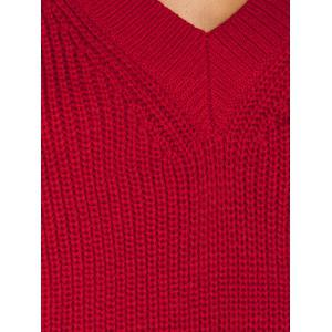 Ribbed V Neck Pullover Sweater -