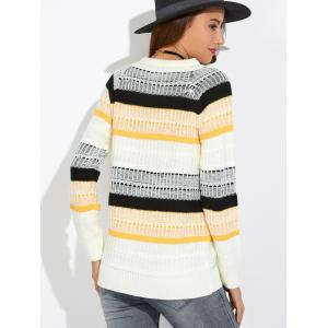 Textured Raglan Sleeve Striped Sweater - WHITE ONE SIZE