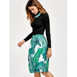 Fit and Flare Jacquard Printed Dress - BLACK/GREEN XL