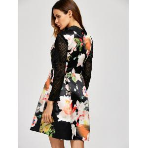 Lace Insert Floral Long Sleeve Dress - BLACK XL