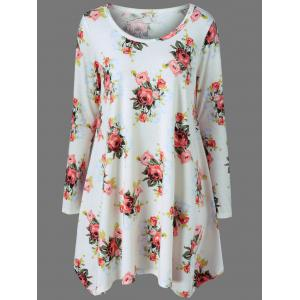 Long Sleeve Floral Tee Tunic Skater Dress - White - Xl