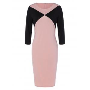Fitted Two Tone Work Dress