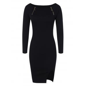 Zipper Embellished Stretchy Tight Dress - Black - One Size
