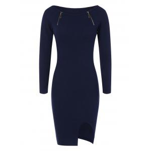 Zipper Embellished Stretchy Tight Dress - Cadetblue - One Size