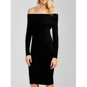 Off The Shoulder Long Sleeve Bodycon Dress - Black - S
