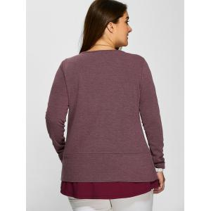 Plus Size Zipper Embellished Layered Pullover - RUSSET RED XL