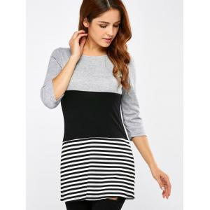 Striped Patchwork Ribbed T-Shirt -