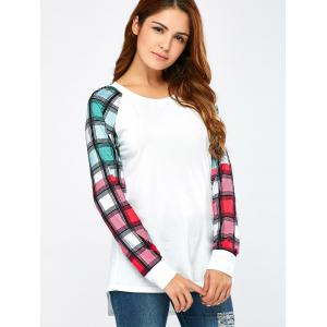 Colorful Plaid Sleeve Tee - WHITE M