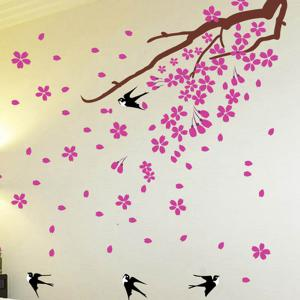 Swallows Return Removeable Giant Wall Stickers For Bedrooms - BLACK/PINK