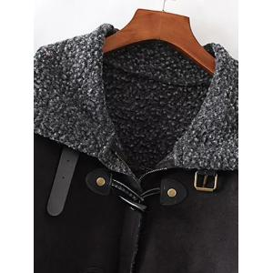 Faux Suede Fleece Trim Coat -
