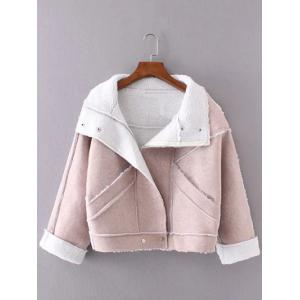 Faux Suede Fleece Trim Cropped Winter Jacket - Pink - M