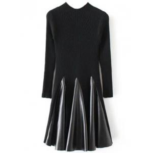 Long Sleeve Ribbed Skater Sweater Dress - Black - One Size