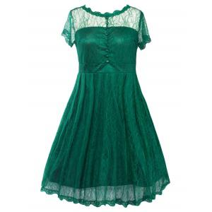 Buttoned Swing Vintage Plus Size A Line Lace Dress