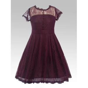 Buttoned Swing Vintage Plus Size A Line Lace Dress - Purplish Red - 3xl