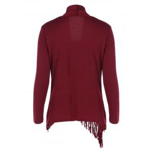 Fringe Asymmetrical Cardigan - WINE RED XL